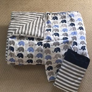 Other - Elephant Striped Toddler Bed Bedding